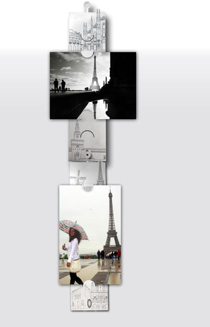 Portafoto da muro skyline rossociliegia for Portafoto verticale da parete